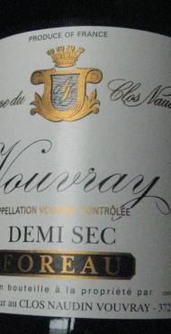 """vignette Vouvray """"Demi Sec"""" Domaine Foreau"""